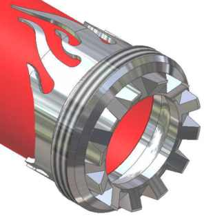 CAD drawing of a custom carved S&S Coupling Flames