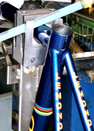 LeMond road bike being cut for S&S Couplings